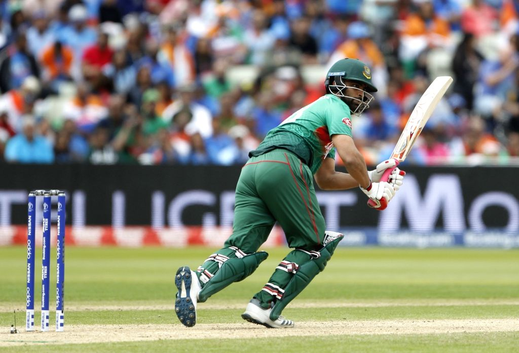 Birmingham: Bangladesh's Tamim Iqbal in action during the 40th match of World Cup 2019 between India and Bangladesh at Edgbaston stadium in Birmingham, England on July 2, 2019. (Photo: Surjeet Yadav/IANS) - Surjeet Yadav