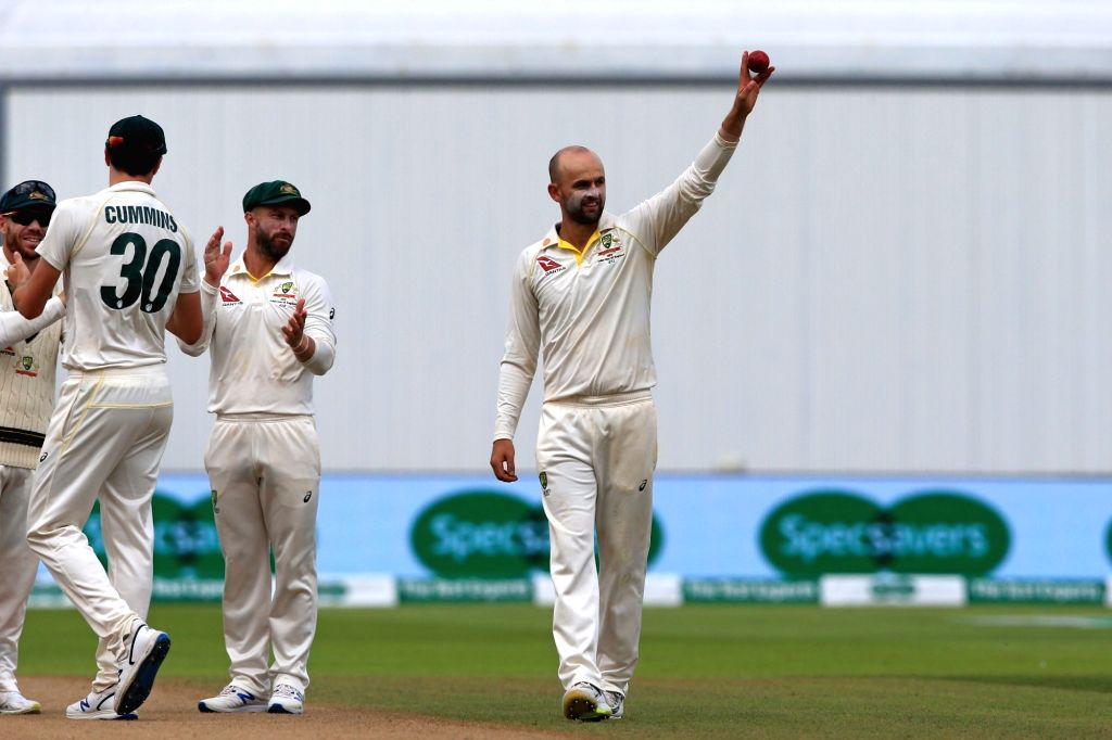 Birmingham: Birmingham: Australia's Nathan Lyon celebrates after taking five wickets on Day 5 of the first match of ICC World Test Championship between Australia and England at Edgbaston Stadium in Birmingham, England on Aug 5, 2019. (Photo: Twitter/