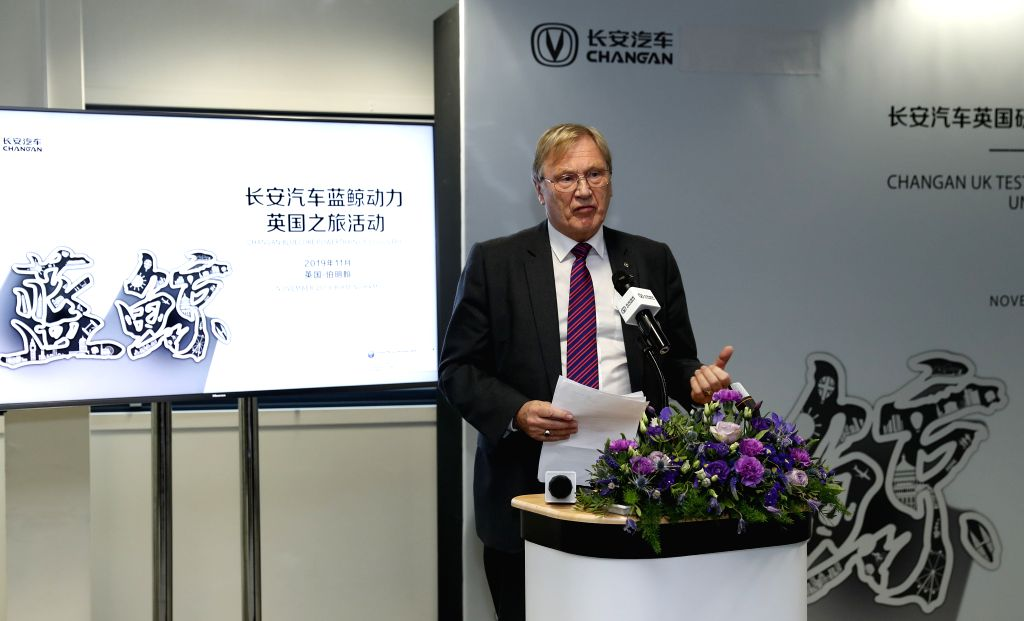 BIRMINGHAM (BRITAIN), Nov. 12, 2019 Councillor Ian Courts, er of the Solihull Council, addresses the Changan UK Test Center Opening and New Engine Unveiling Ceremony in Birmingham, ...