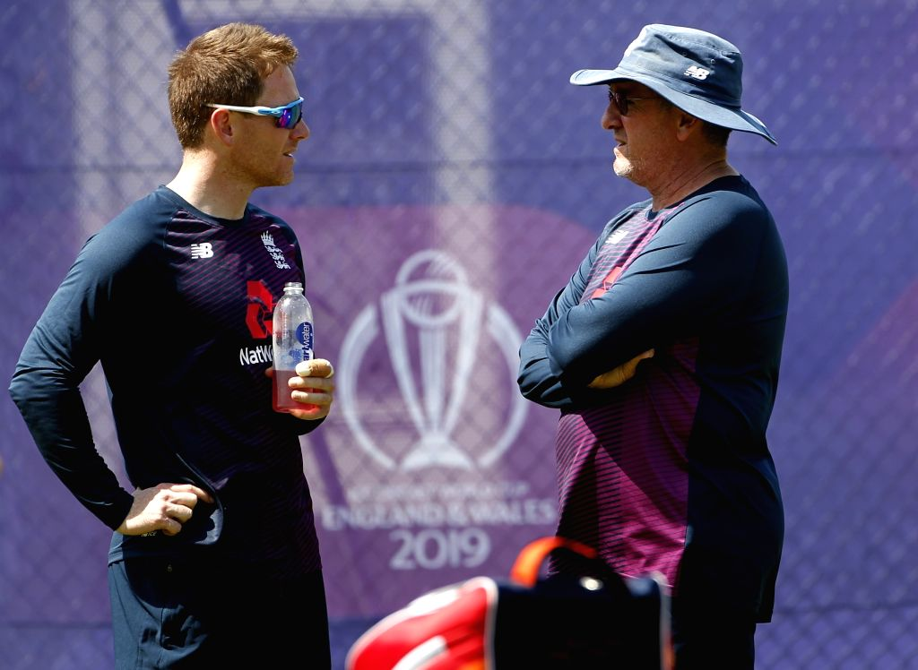 Birmingham: England's coach Trevor Bayliss and captain Eoin Morgan during a practice session ahead of World Cup 2019 match against India at Edgbaston in Birmingham, England on June 29, 2019. (Photo: Surjeet Yadav/IANS) - Eoin Morgan and Surjeet Yadav