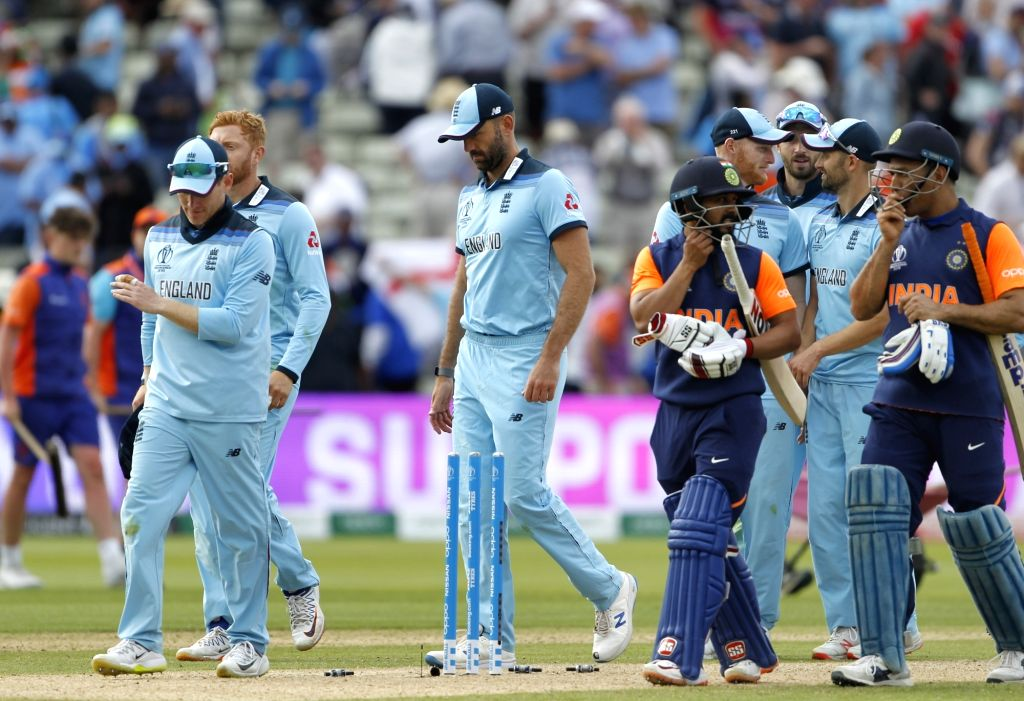 Birmingham: England's cricketers celebrate after winning the 38th match of World Cup 2019 against India at Edgbaston stadium in Birmingham, England, on June 30, 2019. England won by 31 runs. (Photo: Surjeet Yadav/IANS) - Surjeet Yadav