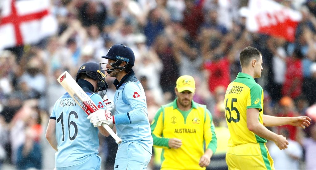 Birmingham: England's Eoin Morgan and Joe Root celebrate after winning the second semi-final match of the 2019 World Cup between against Australia at the Edgbaston Cricket Stadium in Birmingham, England on July 11, 2019. England won by 8 wickets. (Ph - Surjeet Kumar