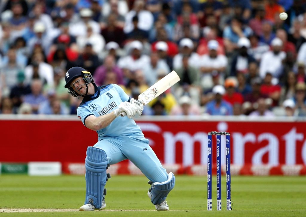 Birmingham: England's Eoin Morgan in action during the second semi-final match of the 2019 World Cup between England and Australia at the Edgbaston Cricket Stadium in Birmingham, England on July 11, 2019. (Photo: Surjeet Kumar/IANS) - Surjeet Kumar