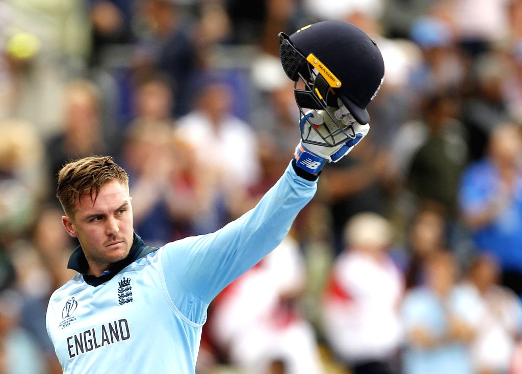 Birmingham: England's Jason Roy waves at the crowd to acknowledge their support during the second semi-final match of the 2019 World Cup between England and Australia at the Edgbaston Cricket Stadium in Birmingham, England on July 11, 2019. (Photo: S - Roy and Surjeet Kumar
