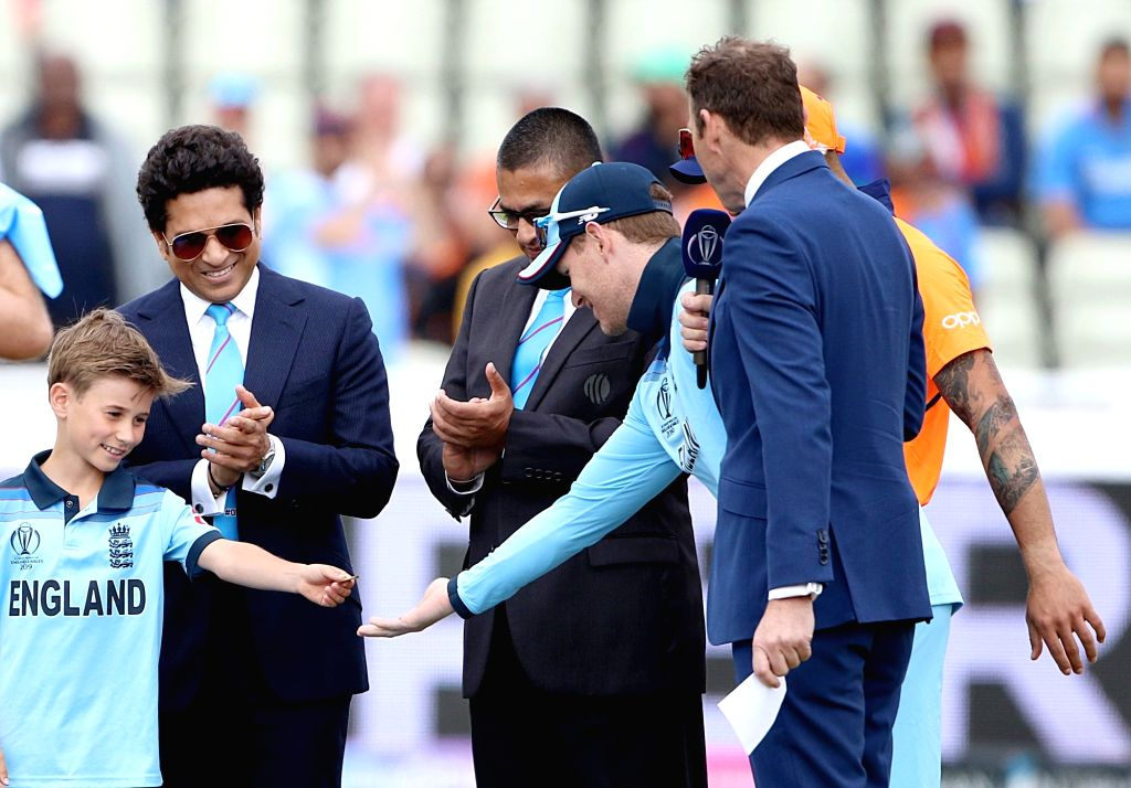 Birmingham: Former Indian cricketer Sachin Tendulkar during the toss for the 38th match of World Cup 2019, at Edgbaston stadium in Birmingham, England, on June 30, 2019.(Photo: Surjeet Yadav/IANS) - Sachin Tendulkar and Surjeet Yadav