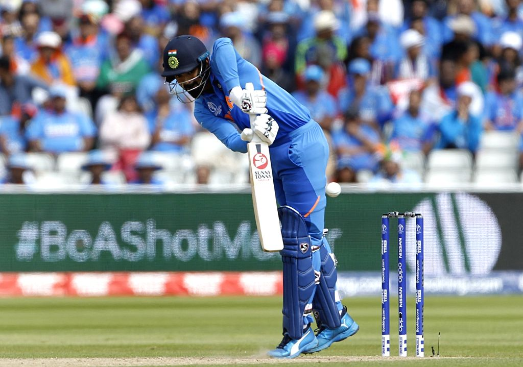 Birmingham: India's Lokesh Rahul in action during the 40th match of World Cup 2019 between India and Bangladesh at Edgbaston stadium in Birmingham, England on July 2, 2019. (Photo: Surjeet Yadav/IANS) - Lokesh Rahul and Surjeet Yadav