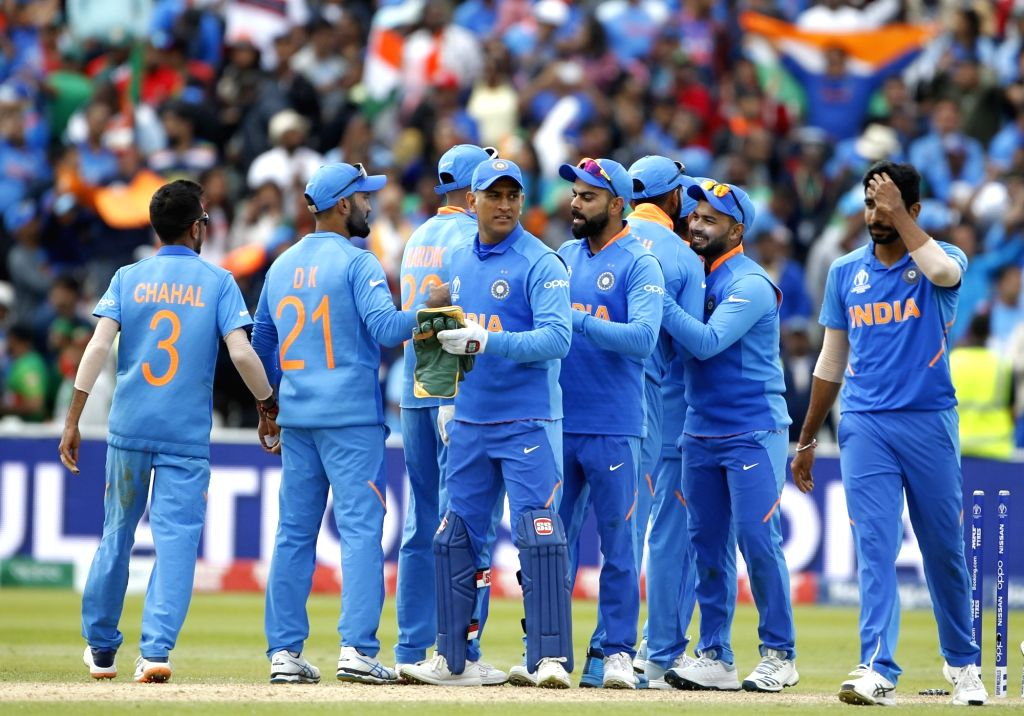 Birmingham: Indian players celebrate after winning their World Cup 2019 match against Bangladesh at Edgbaston stadium in Birmingham, England on July 2, 2019. (Photo: Surjeet Yadav/IANS) - Surjeet Yadav