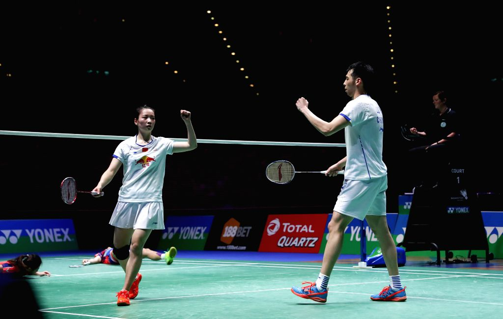 BIRMINGHAM, Mar. 12, 2017 - Lu Kai(R)/Huang Yaqiong of China celebrate during the mixed doubles final with Peng Soon Chan/Liu Ying Goh of Malaysia at All England Open Badminton Championships 2017 in ...