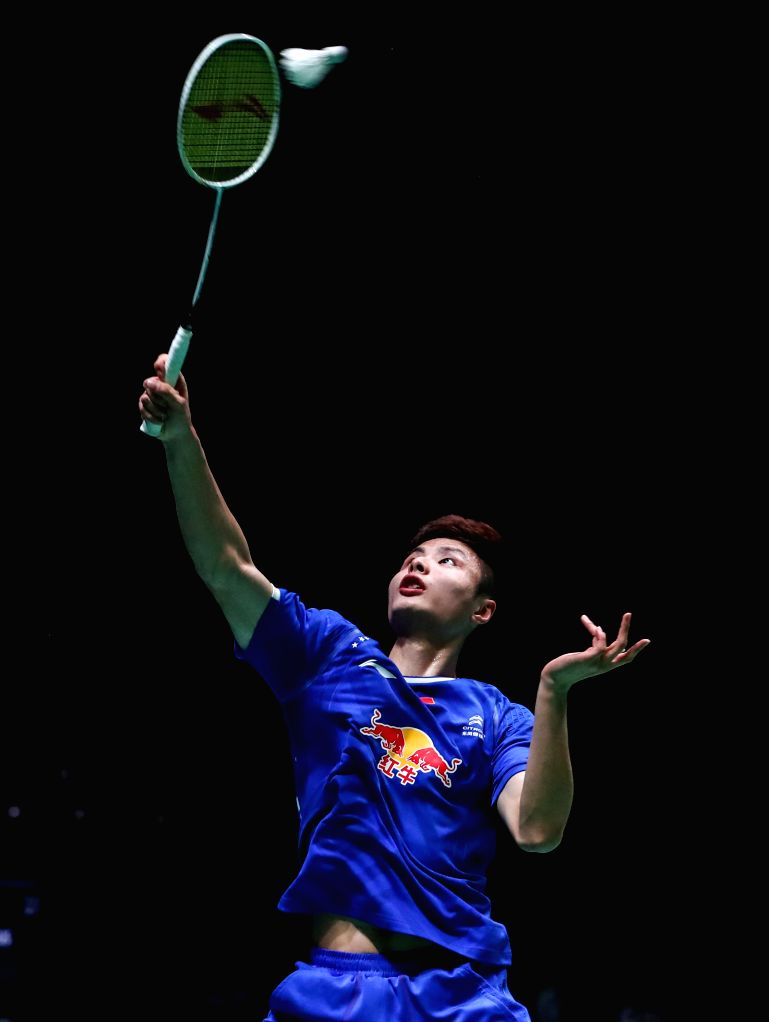 BIRMINGHAM, March 10, 2017 - China's Shi Yuqi returns the shuttlecock during the men's single second round match with Angus Ng Ka Long of Hong Kong of China at All England Open Badminton ...