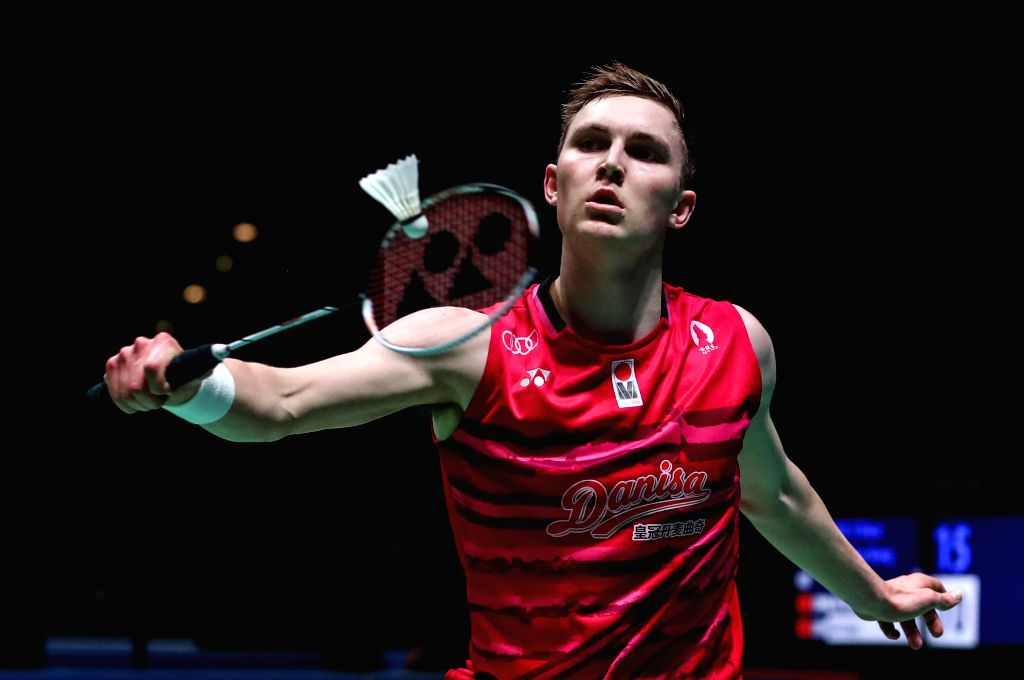 BIRMINGHAM, March 10, 2017 - Viktor Axelsen of Denmark returns the shuttlecock during the men's single second round match with China's Zhao Junpeng at All England Open Badminton 2017 in Birmingham, ...