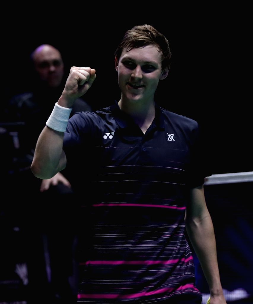 BIRMINGHAM, March 10, 2019 - Denmark's Viktor Axelsen celebrates after the men's singles semifinal match with China's Shi Yuqi at the All England Open Badminton Championships 2019 in Birmingham, ...