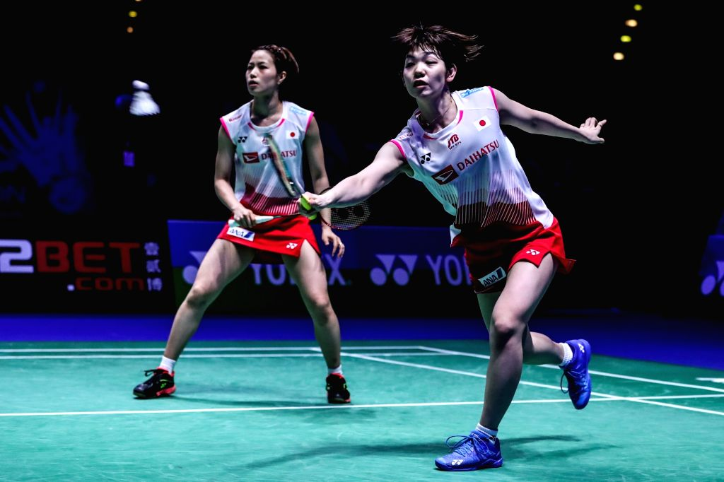 BIRMINGHAM, March 10, 2019 - Japan's Yuki Fukishima (R)/Sayaka Hirota compete the women's doubles semifinals match with China's Chen Qingchen and Jia Yifan at the All England Open Badminton ...