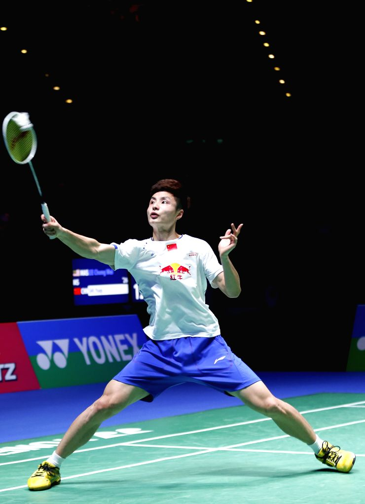 BIRMINGHAM, March 12, 2017 - Shi Yuqi of China competes during the men's singles final with Lee Chong Wei of Malaysia at All England Open Badminton Championships 2017 in Birmingham, Britain on March ...