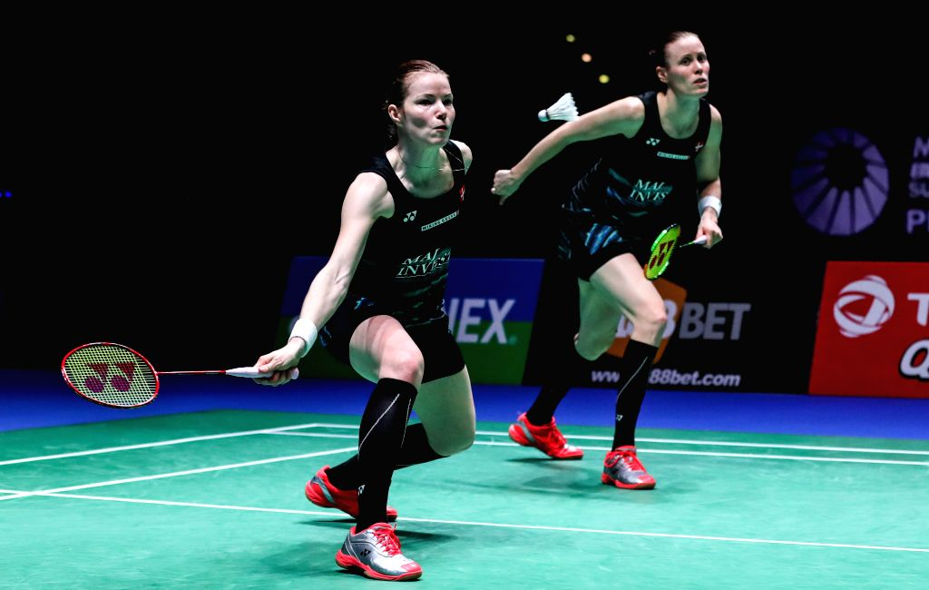 BIRMINGHAM, March 13, 2017 - Kamilla Rytter Juhl (R) /Christinna Pedersen of Denmark compete during the women's doubles final with Chang Ye Na/Lee So Hee of South Korea at All England Open Badminton ...