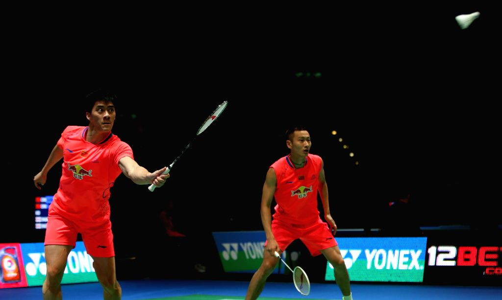 Fu Haifeng (L) and Zhang Nan of China compete during the men's doubles first round match between Fu Haifeng/Zhang Nan of China and Matthew Nottingham/Harley ...