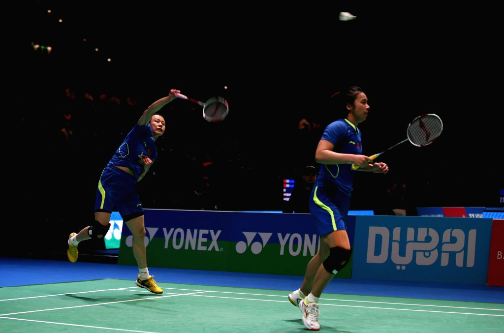 Tian Qing (L) and Zhao Yunlei of China compete during the women's doubles first round match between Tian Qing/Zhao Yunlei of China and Lee So Hee/Shin Seung Chan ...