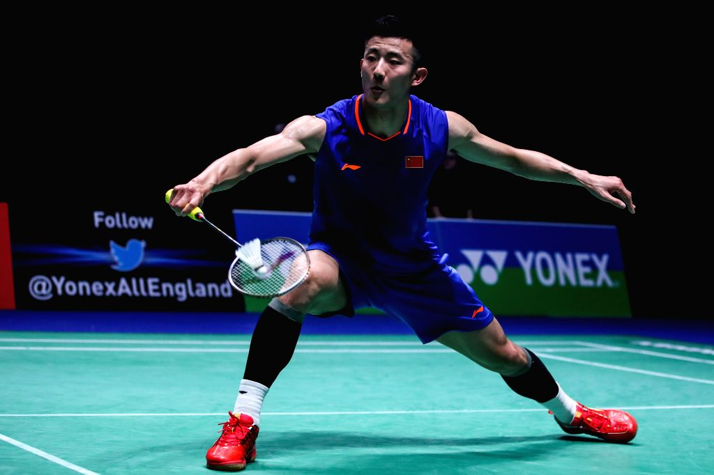 BIRMINGHAM, March 7, 2019 - Chen Long returns the shuttlecock during the men's singles first round match between Rasmus Gemke of Denmark and Chen Long of China at the All England Open Badminton ...