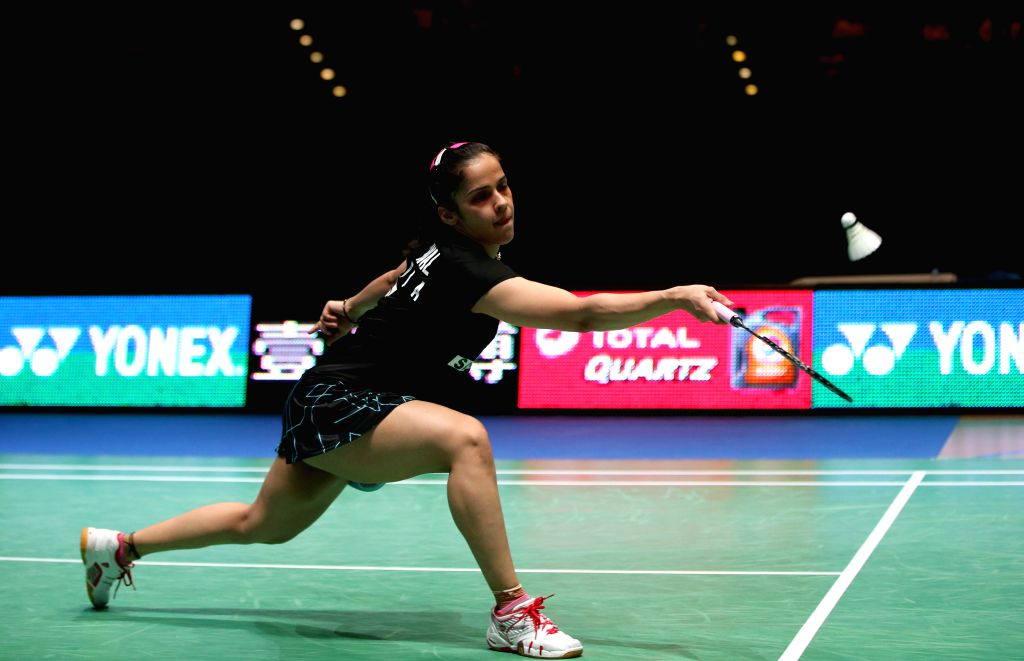 Saina Nehwal of India competes during the women's singles final against Carolina Marin of Spain at the All England Open Badminton Championships at Barclaycard ...