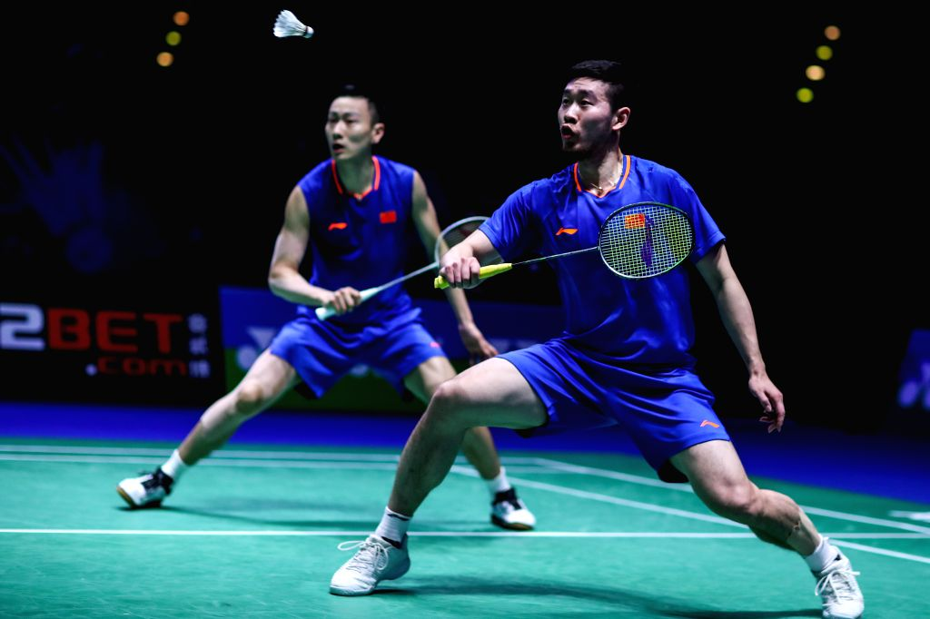 BIRMINGHAM, March 9, 2019 - China's Liu Cheng (R) / Zhang Nan compete during the men's doubles quarter finals match with Malaysia's Aaron Chia and Soh Wooi Yik at the All England Open Badminton ...