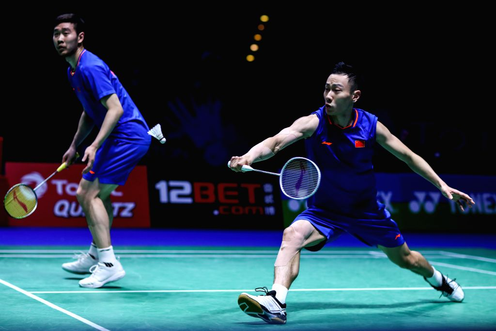 BIRMINGHAM, March 9, 2019 - China's Liu Cheng/Zhang Nan(R) compete during the men's doubles quarter finals match with Malaysia's Aaron Chia and Soh Wooi Yik at the All England Open Badminton ...