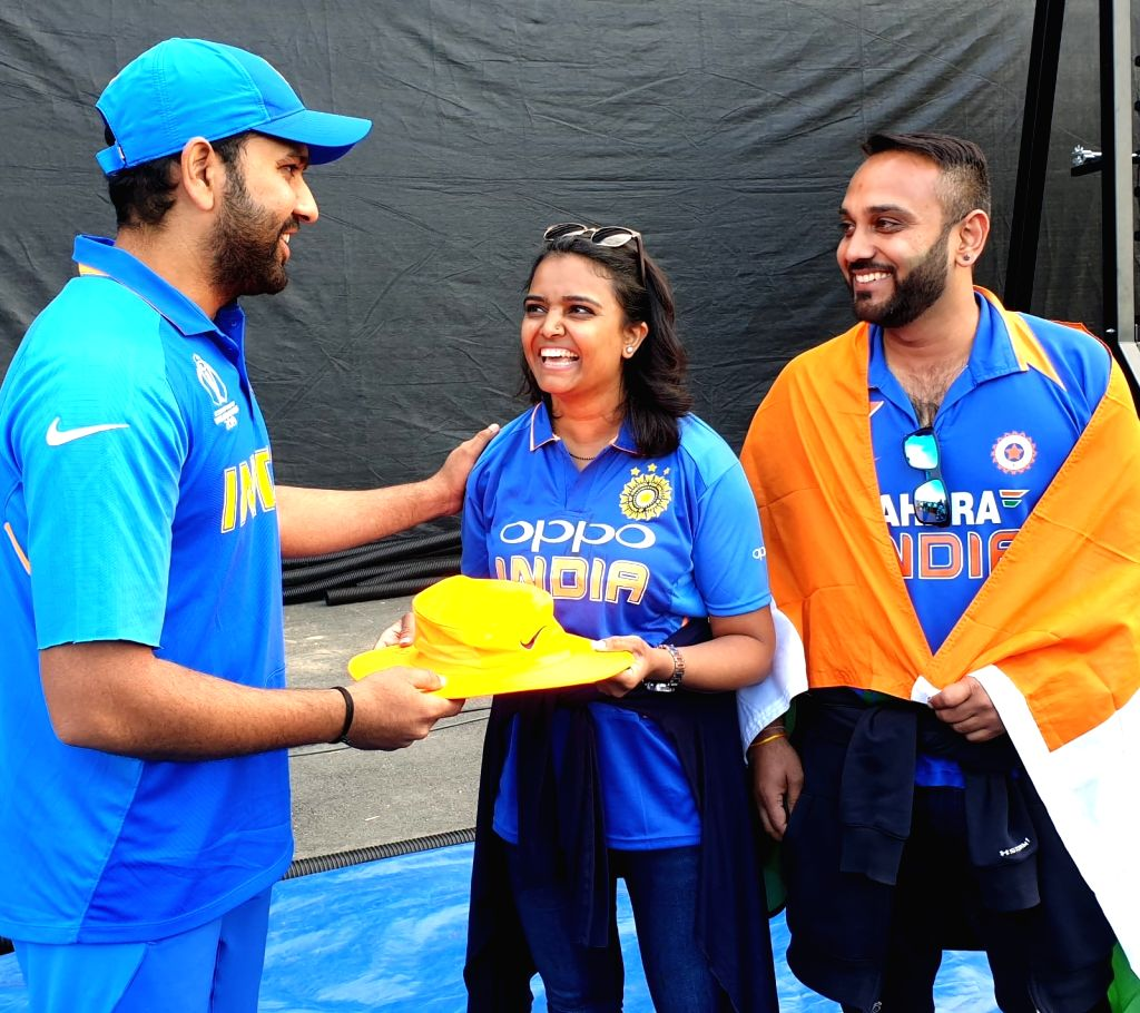 Birmingham: Rohit Sharma meets fan hit by his six, gives autographed hat  (Photo: IANS) - Rohit Sharma