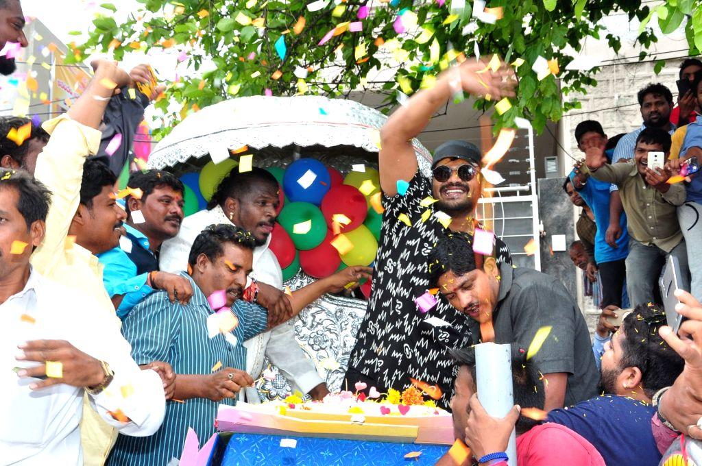 Birthday celebration of Telugu actor Manchu Manoj in Hyderabad on May 20, 2016. - Manchu Manoj