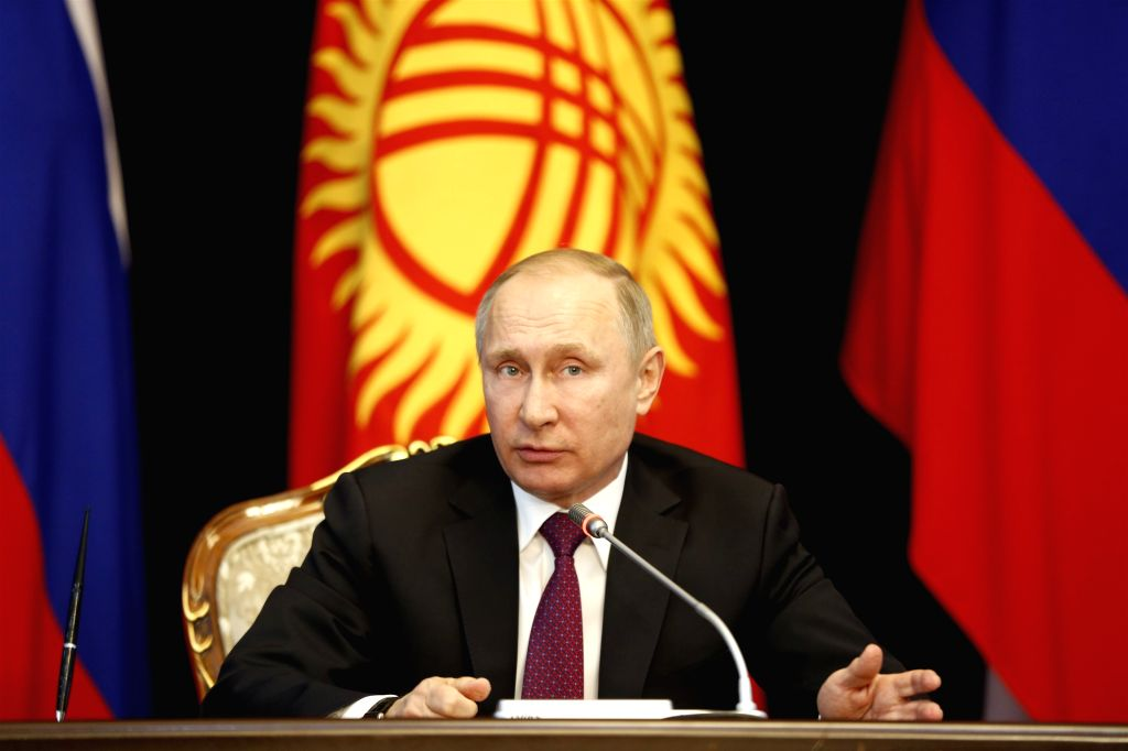 BISHKEK, Feb. 28, 2017 - Visiting Russian President Vladimir Putin addresses a news conference after meeting with his Kyrgyz counterpart Almazbek Atambayev (not in the picture) in Bishkek, capital of ...
