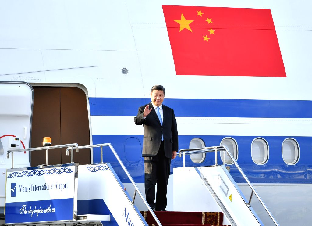 BISHKEK, June 12, 2019 - Chinese President Xi Jinping disembarks from the airplane upon his arrival in Bishkek, Kyrgyzstan, June 12, 2019. Xi arrived here Wednesday for a state visit to Kyrgyzstan ...