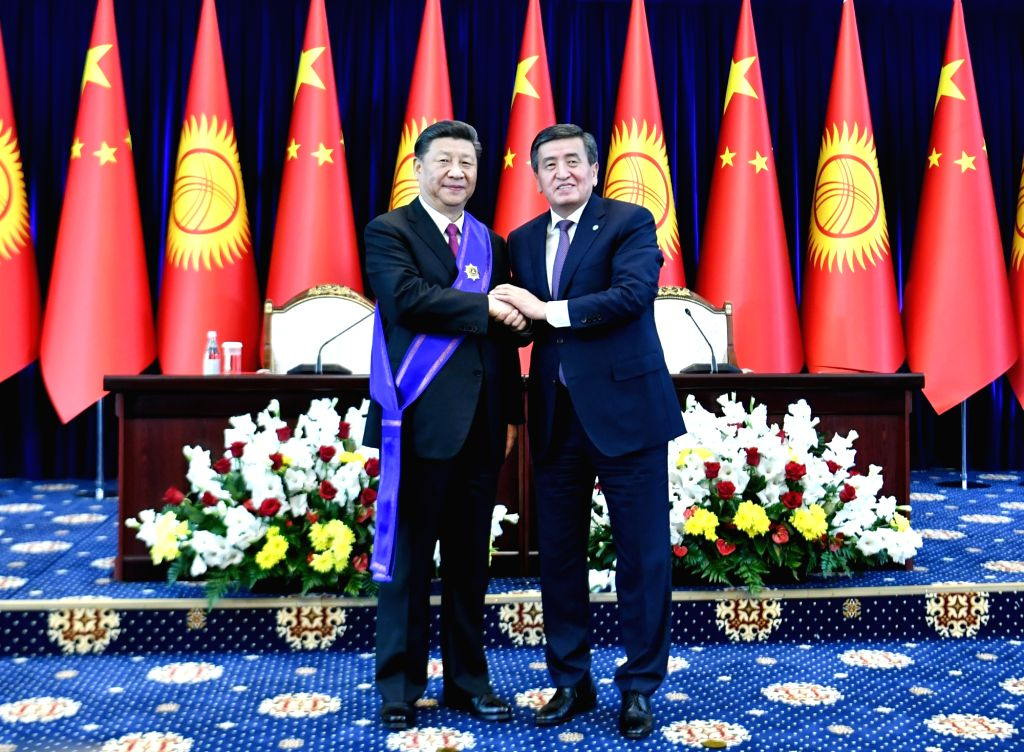 BISHKEK, June 13, 2019 - Chinese President Xi Jinping is awarded the Manas Order of the First Degree, the highest national prize of Kyrgyzstan, by his Kyrgyz counterpart Sooronbay Jeenbekov in ...
