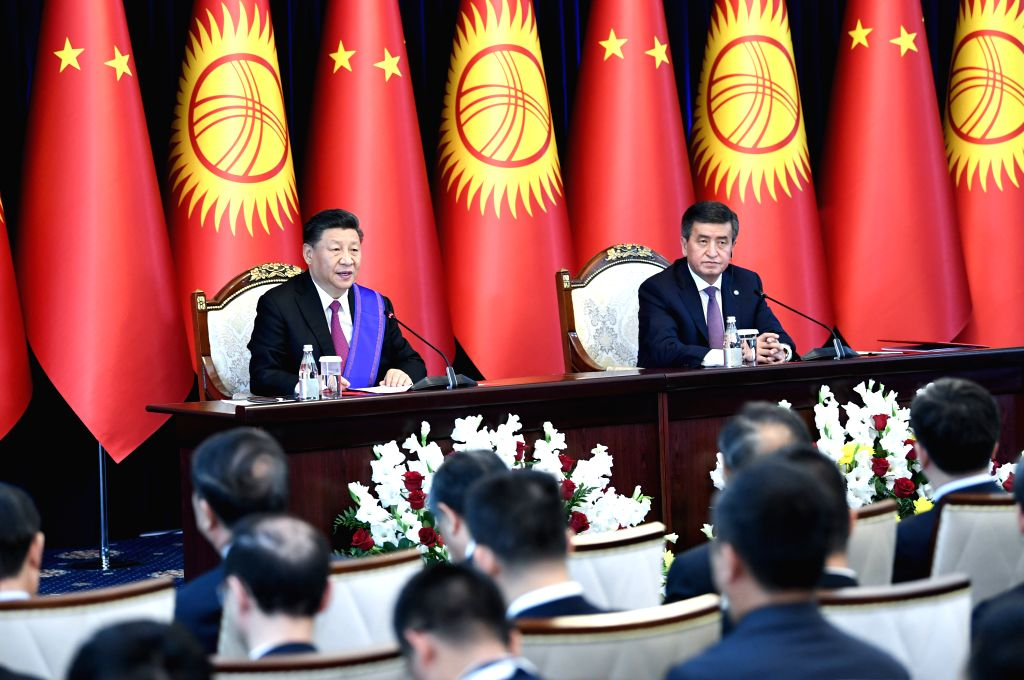 BISHKEK, June 13, 2019 - Chinese President Xi Jinping and his Kyrgyz counterpart Sooronbay Jeenbekov meet the press after their talks in Bishkek, Kyrgyzstan, June 13, 2019. Xi and Jeenbekov held ...
