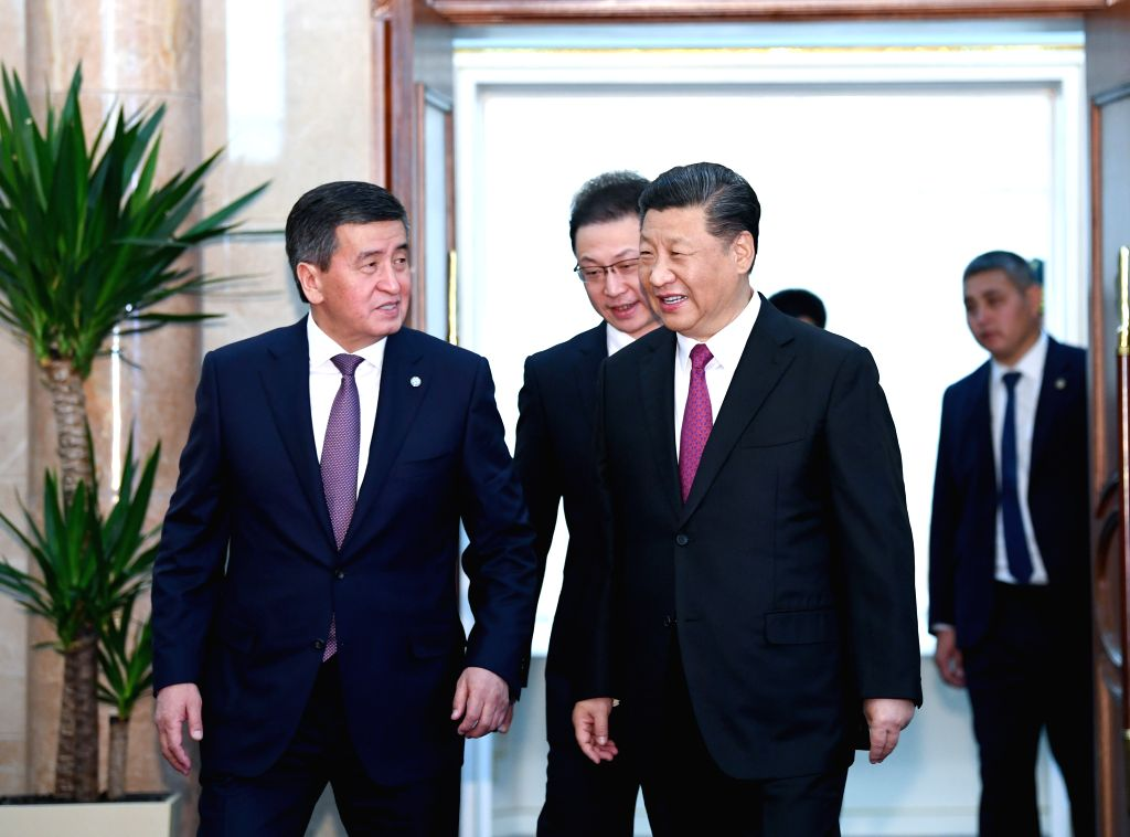 BISHKEK, June 13, 2019 - Chinese President Xi Jinping and his Kyrgyz counterpart Sooronbay Jeenbekov arrive for their talks in Bishkek, Kyrgyzstan, June 13, 2019. Xi and Jeenbekov held talks here ...