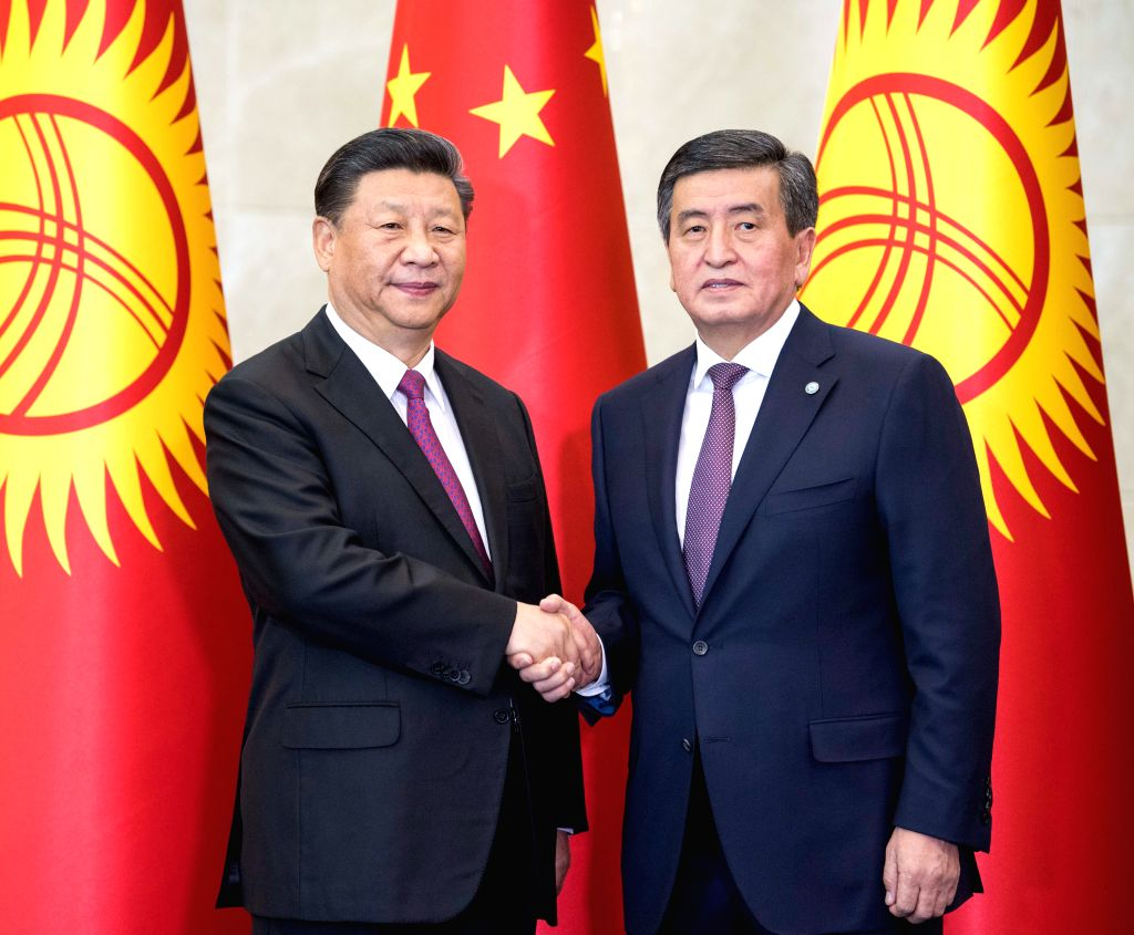 BISHKEK, June 13, 2019 - Chinese President Xi Jinping and his Kyrgyz counterpart Sooronbay Jeenbekov hold talks in Bishkek, Kyrgyzstan, June 13, 2019. Xi and Jeenbekov held talks here Thursday, ...