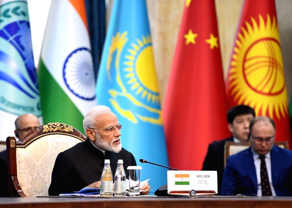 Bishkek: Prime Minister Narendra Modi at the delegation level meeting of the 2019 Shanghai Cooperation Organization (SCO) Summit in Bishkek, Kyrgyzstan on June 14, 2019. (Photo: IANS/PIB) - Narendra Modi