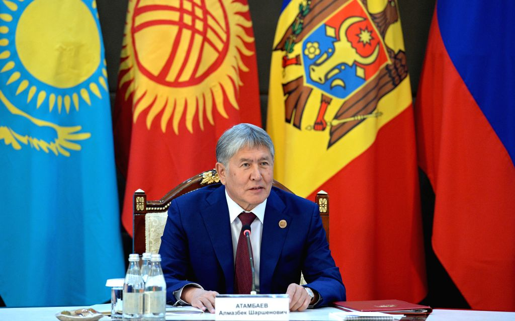 BISHKEK, Sept. 16, 2016 - President of Kyrgyzstan Almazbek Atambaev delivers a speech during the 25th session of the Commonwealth of Independent States(CIS) Council of Heads of State in Bishkek, ...