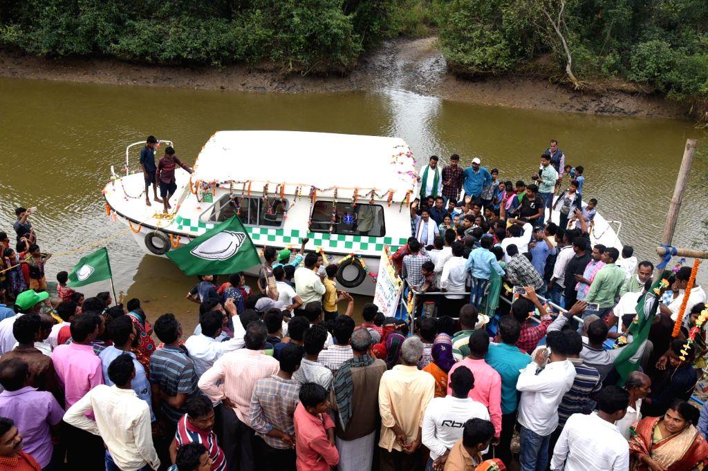 BJD Mahakalapada MLA Atanu Sabyasachi Nayak flag off Odisha's first boat ambulance in Batighar, Odisha on March 5, 2019.