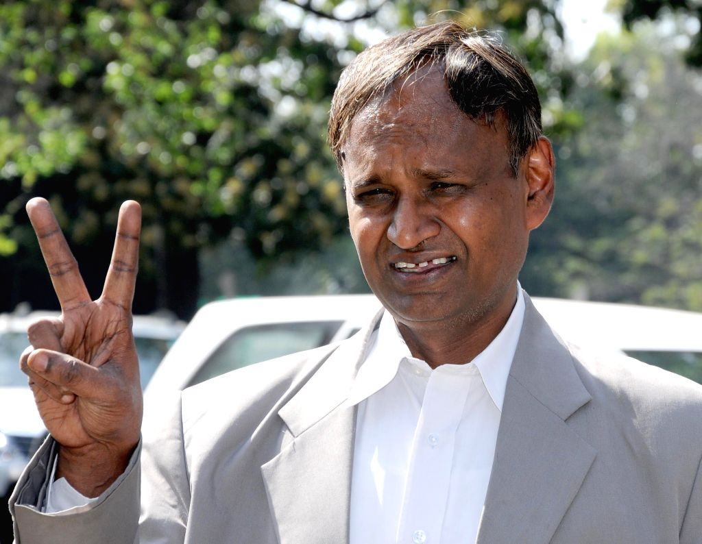 BJP candidate for 2014 Lok Sabha Elections from North West Delhi Udit Raj after winning in New Delhi on on May 16, 2014.