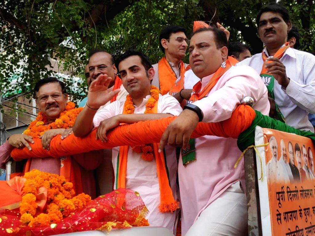 BJP candidate for East Delhi Lok Sabha seat, Gautam Gambhir during election campaign in  New Delhi on April 30, 2019.