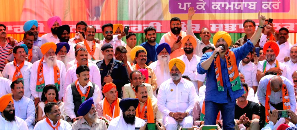 BJP candidate for Gurdaspur Lok Sabha seat Sunny Deol during a party rally in Gurdaspur, Punjab on April 29, 2019.