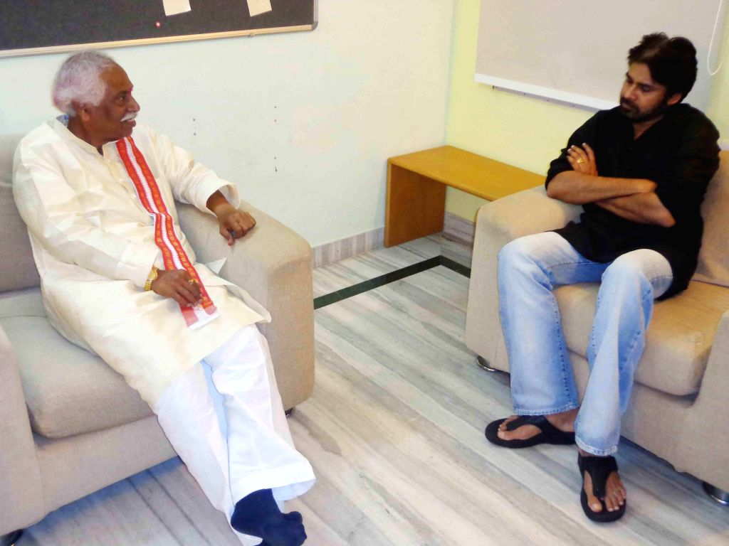BJP candidate for Secunderabad Parliamentary Constituency Bandaru Dattatreya meeting actor and Jana Sena party chief Pavan Kalyan in Secunderabad on April 19, 2014.