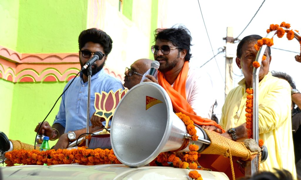 BJP candidate from Asansol Lok Sabha constituency, Babul Supriyo during a road show in Andal, West Bengal on April 27, 2019.