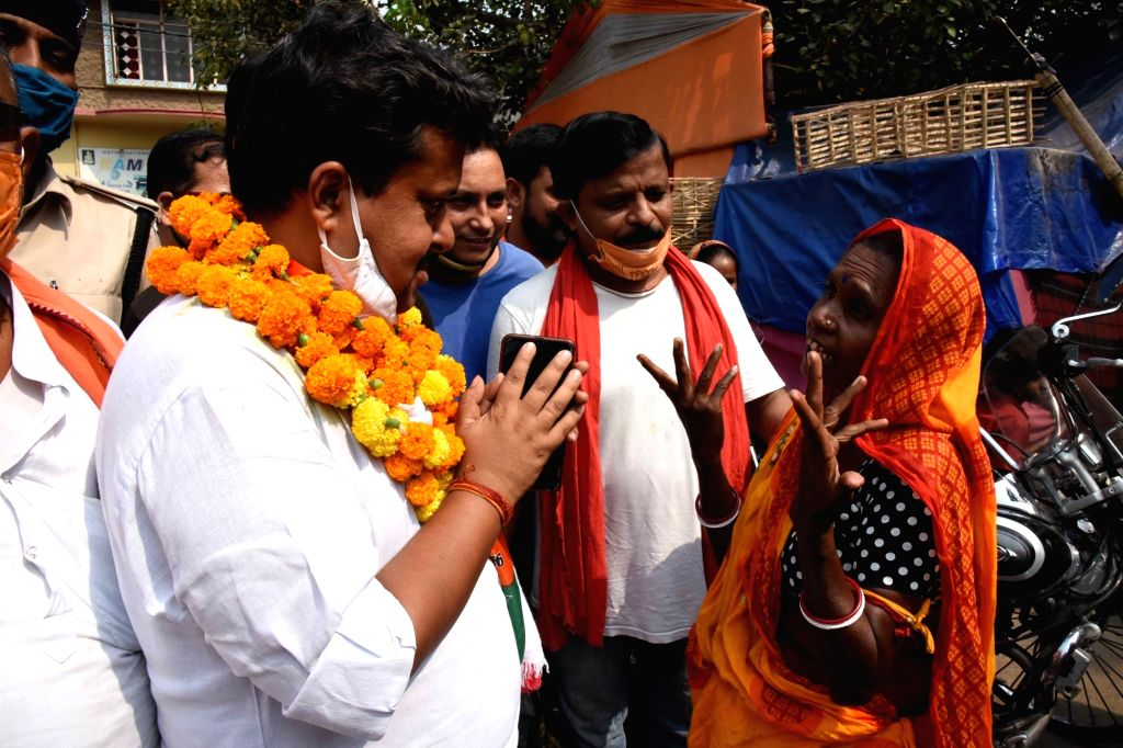 BJP candidate from Bankipur constituency Nitin Naveen during the door-to-door election campaign ahead of Bihar Assembly elections, in Patna on Oct 20, 2020.
