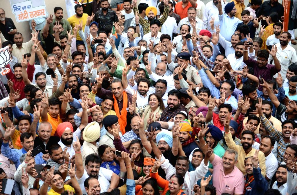 BJP candidate from Chandigarh Lok Sabha seat, Kirron Kher celebrates her performance in the recently concluded 2019 Lok Sabha elections in Chandigarh on May 23, 2019. - Kirron Kher