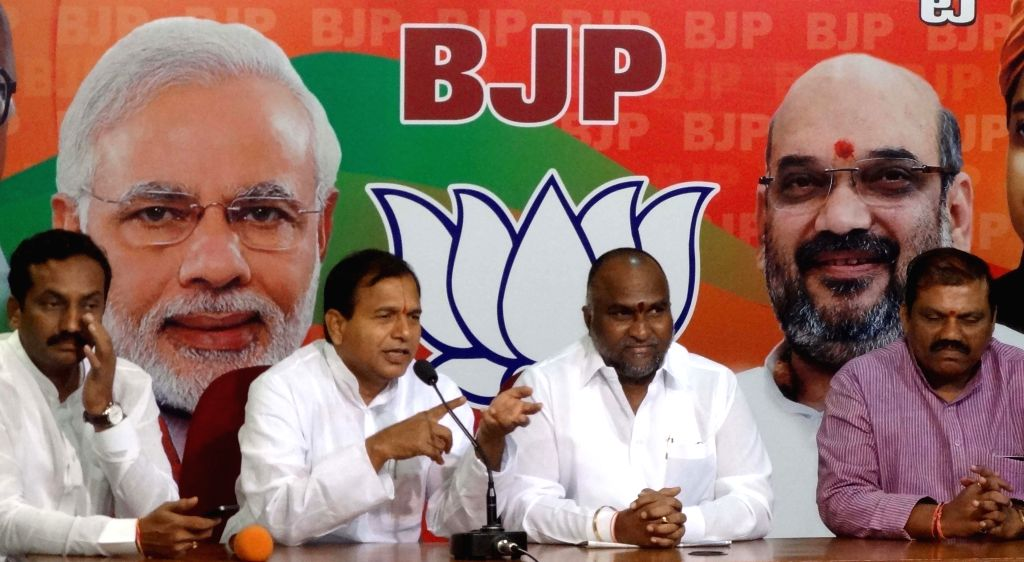 BJP candidate from Medak parliamentary constituency for by polls, Jagga Reddy during a press conference at BJP office in Hyderabad on Sept 1, 2014. - Jagga Reddy