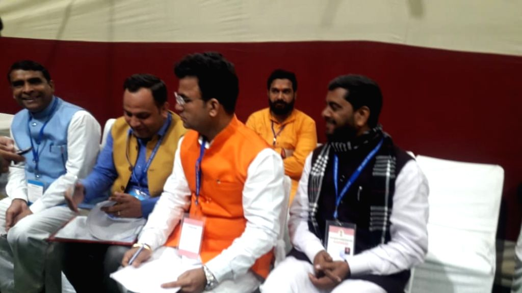 BJP candidate from Patparganj assembly constituency Ravi Negi at Akshardham Counting center during the counting of votes for the recently concluded Delhi Assembly elections 2020, in New ...