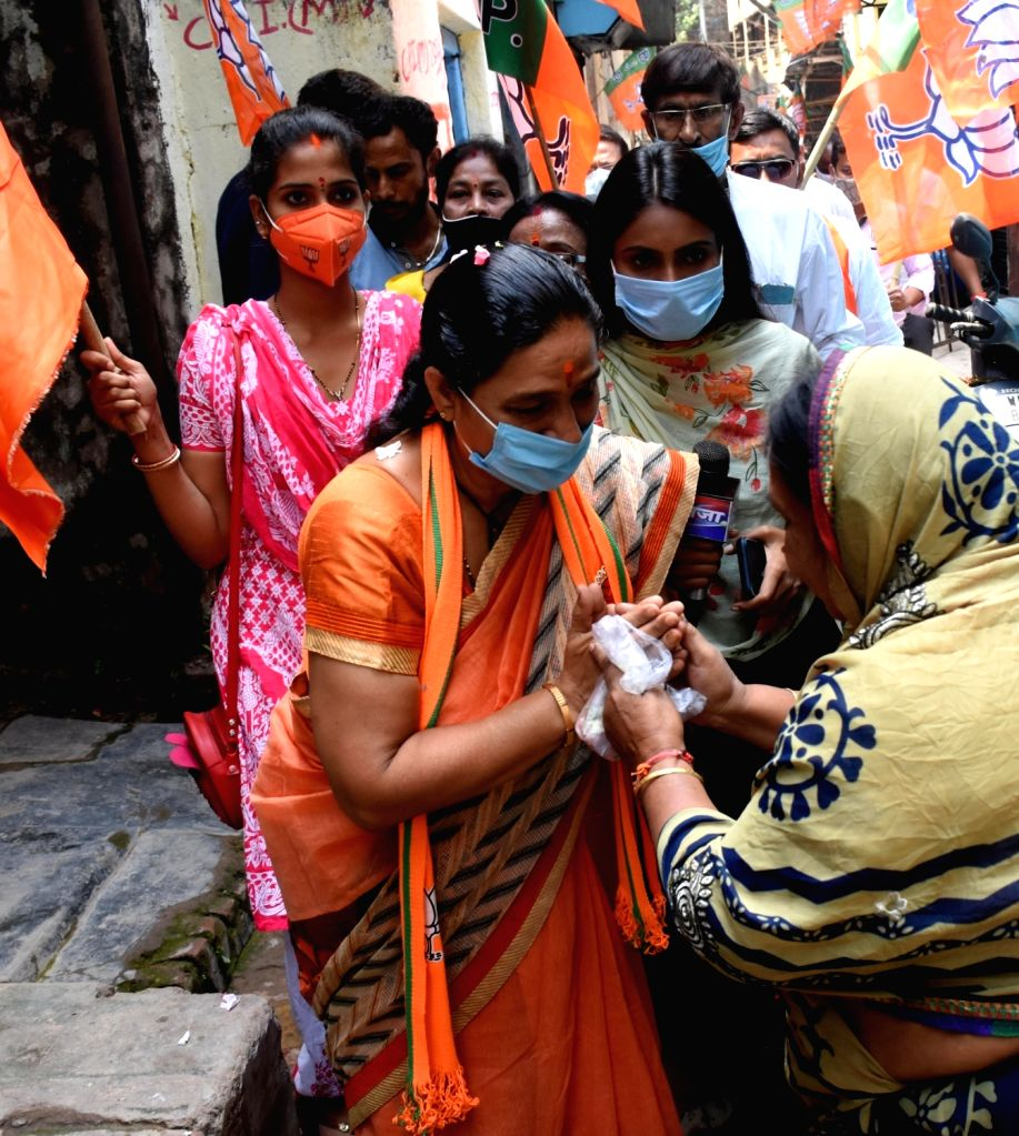 BJP candidate of Jorashanko Mina Devi Purohit at a election campaign during State Assembly election in Kolkata.