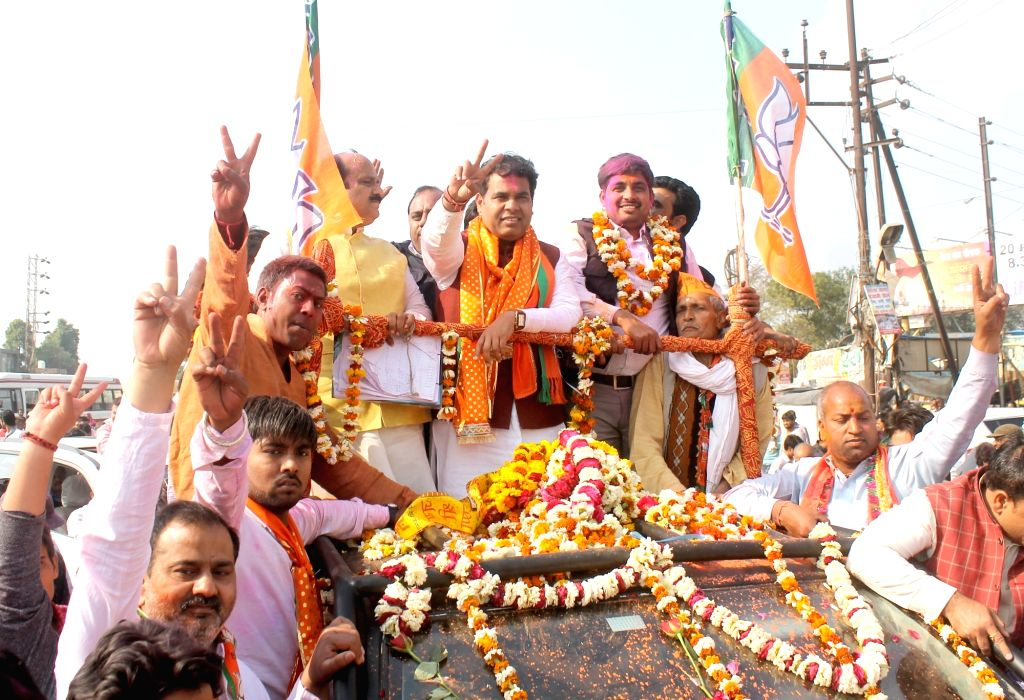 BJP candidate Shrikant Sharma celebrates party's victory in the Uttar Pradesh assembly elections in Mathura on March 11, 2017. - Shrikant Sharma