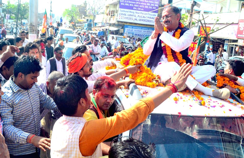 BJP candidate Siddarth Nath Singh celebrates after his victory in Uttar Pradesh assembly elections in Allahabad on March 11, 2017. - Siddarth Nath Singh