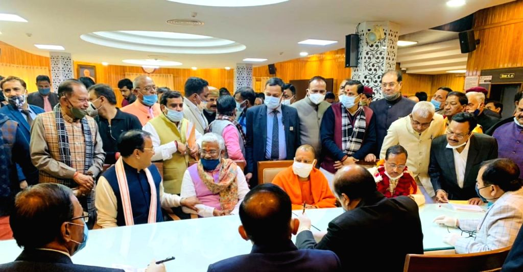 BJP candidates file nominations for UP Vidhan Parishad.