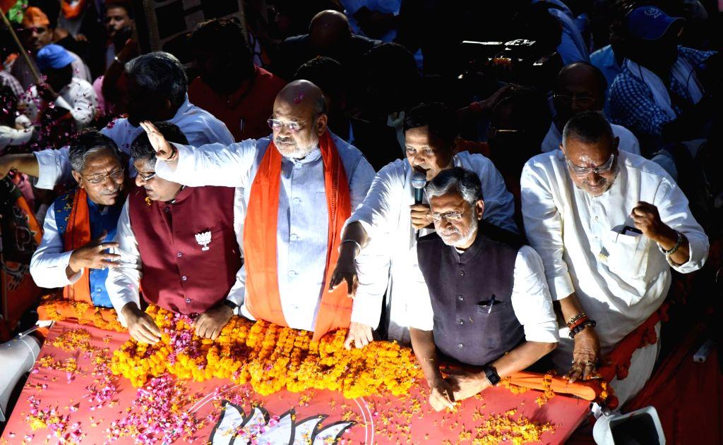 BJP chief Amit Shah accompanied by Bihar Minister Nand Kishore Yadav, Union Ministers Ravi Shankar Prasad and Giriraj Singh, Bihar party President Nityanand Rai and the state's Deputy Chief ... - Nand Kishore Yadav, Ravi Shankar Prasad, Giriraj Singh, Amit Shah, Nityanand Rai and Sushil Kumar Modi