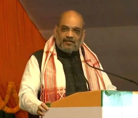 BJP chief Amit Shah addresses a party meeting in Guwahati, on Feb 17, 2019. - Amit Shah